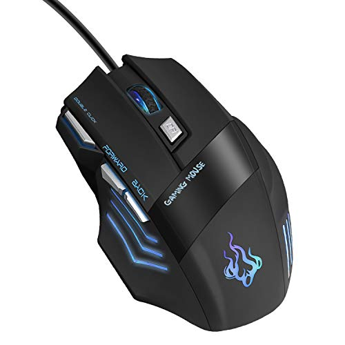 (Gaming Mouse, Fellee USB Wired Mouse Professional Ergonomic Optical Computer Mouse with 7 Buttons, 4 DPI Adjustable Level, High Precision 500Hz Polling Rate for Windows 7/8/10/2000 / XP/Vista Mac )