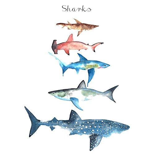 WYUEN 5 Sheets Shark Kids Body Art Tattoo Sticker For Men Women Fake Waterproof Temporary Tattoo New Designs 10.5X6cm A-179 ()