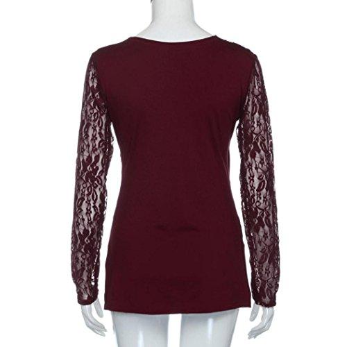 Pliegue la cremallera lateral blusas de encaje tops, koly mujer cuello v manga larga camisa asimétrica (M, Vino rojo): Amazon.es: Hogar