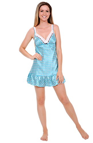 Blue Satin Chemise (Alexander Del Rossa Womens Satin Nightgown, Lace Trimmed Camisole Chemise, Large Blue with Pink Dots (A0775Q09LG))