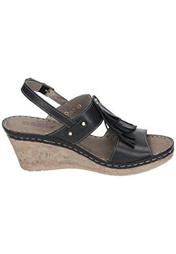 1 Sandalen schwarz Manitu Sandalen Plateau schwarz Damen 910665 0Y5nrOFnxq