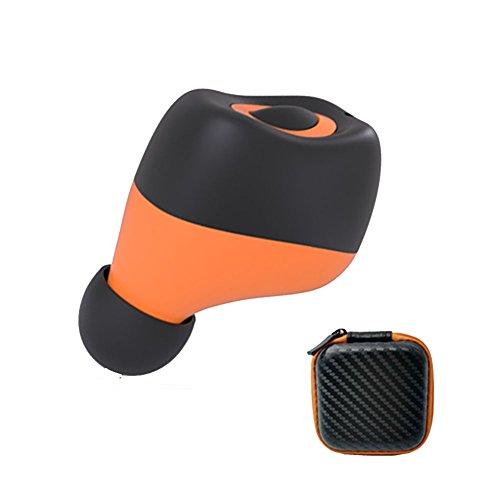 Mini Wireless Bluetooth V4.1 Single Earphone Headphones, Csr Sport Stereo in-Ear Headsets Earbuds Headphones, Sweatproof and Hands-Free Calls for iPhone Andorid Smartphones (Orange) by LingYe