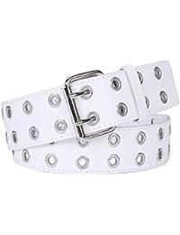 0c3248f1a Double Grommet Belt PU Leather Punk Belt for Women Jeans 2 Hole Belts  1.5Inch Wide