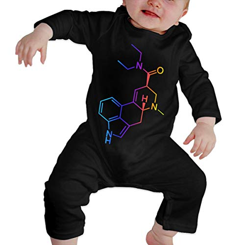U99oi-9 Long Sleeve Cotton Rompers for Unisex Baby, Cute Molecule Acid Psychedelic Chemistry Playsuit Black -