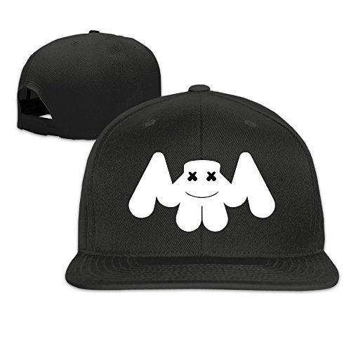 QZN Marshmello Face Jauz and Marshmello Flat Baseball Caps Black