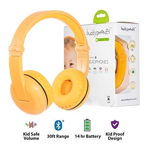 Wireless Bluetooth Headphones for Kids - BuddyPhones PLAY | Kids Safe Volume Limited to 75, 85 or 94 dB | Foldable with 14-Hour Battery Life | Optional Cable for Audio Sharing | Yellow