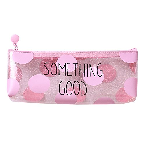 Amazon.com: ZHANGVIP Pink Transparent Pencil Case Cosmetic Bag Makeup Pouch Pen Box (A): Sports & Outdoors