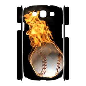 wugdiy Customized Hard Back 3D Case Cover for Samsung Galaxy S3 I9300 with Unique Design fire baseball