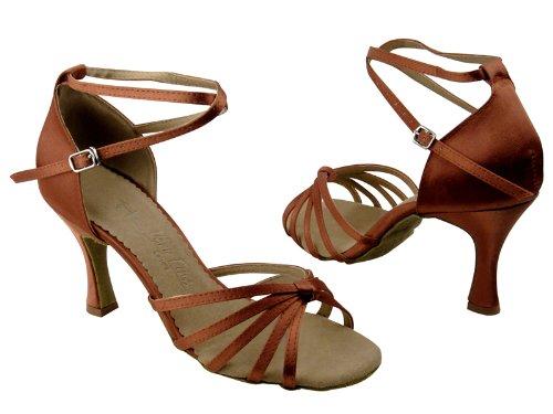 Scarpe Da Ballo Da Donna Per Ballare Salsa Latino Tango Sera6005 Satin Nero Satinato 3