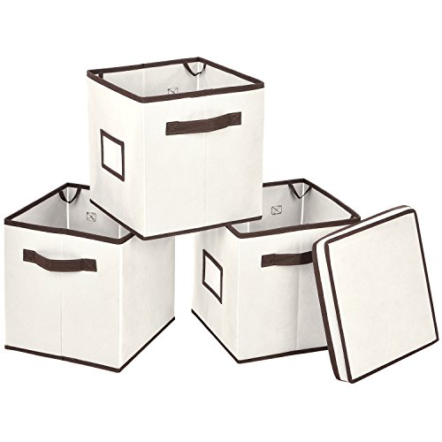 Foldable Storage Bins with Lid, MaidMAX Set of 3 Stackable Storage Cubes Fabric Containers Organizers Drawers with 1 Top Lid, Label Holders & Dual Handles for Shelves Closet DVD Nursery, Beige (Decorative Storage Baskets With Lids)
