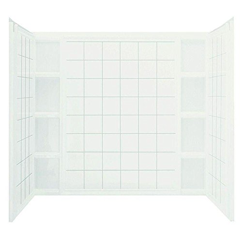 Sterling 71104100-0 Ensemble Tile 37-1/2-Inch x 60-Inch x 54-1/4-Inch Three Piece Direct-to-Stud Tub and Shower Wall Set in White