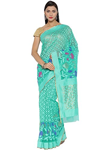 IndusDiva Women's Sea Green Georgette Banarasi Saree - Banarasi Georgette