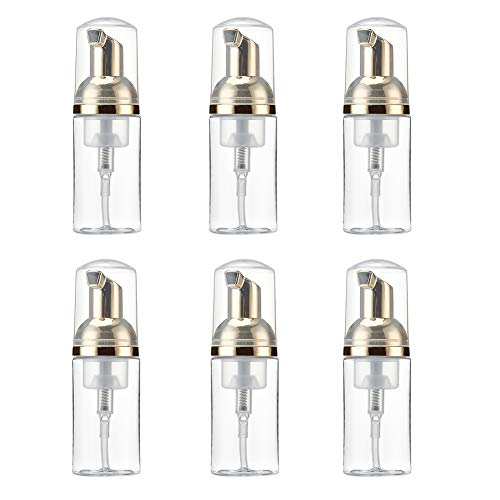1 Oz Plastic Travel Foaming Soap Dispenser with Gold Pump | Mini Empty Foaming Liquid Travel Bottles - for Refillable Castile Soap - BPA Free (Pack of 6, 30ML, Clear) from Lisapack