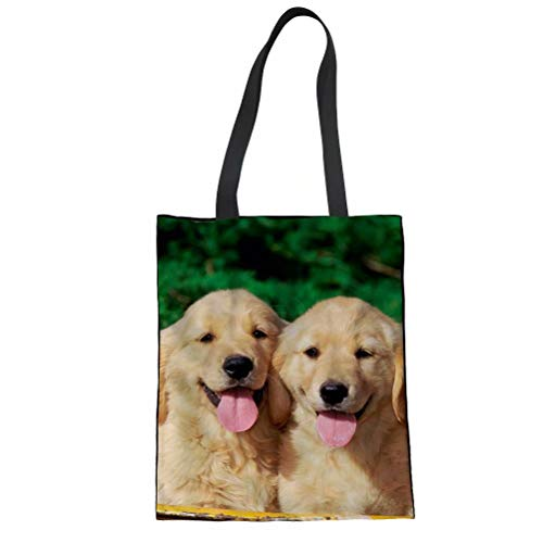 FOR U DESIGNS Kawaii Golden Retriever Printed Linen Tote Shoulder Bag for Teen ()