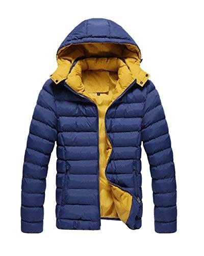 Abbigliamento Con Lunghe Dunkelblau Outdoor Capispalla Con Maniche Invernale Da Cappuccio Laterali Giacca Cappotto Tasche Uomo Zip STE18n