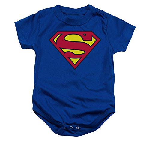 Simply Superheroes Unisex-Baby Superman Classic Logo Infant Onesie 0-6 Months Blue
