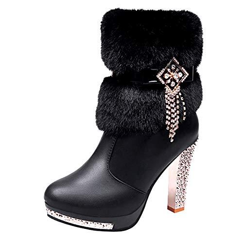 (Creazrise Women's Faux Fur Bowtie&Glass Diamond Ornament Rhinestone High Heel Boots (Black,8))