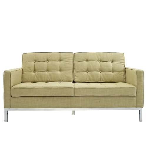 Urban Contemporary Tufted Light Green Wool Loveseat