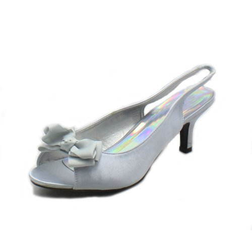Ladies Satin kitten heel sling back bow front party shoes Silver pHKQLJ4N