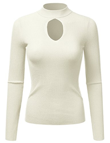 Doublju Fitted Deep V-Neck and Round Neck Ribbed Knit Sweater Top For Women Ivory Medium