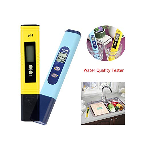 Digital Water Quality Tester, Accurate and Reliable, Professional TDS Meter, PH Meter, 0-9999ppm, Ideal Water Test Meter for Drinking Water, Aquariums, etc (155mmx31mmx18mm, Multicolor) (Dm1 Dual Tds Meter)