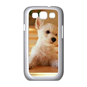 Samsung Galaxy S3 Cases Girls Dog Sitting on a Chair at the Table, Dog & Cute Samsung Galaxy S3 Case for Women [White]