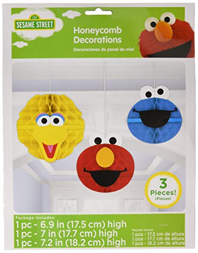 Amscan 299597 Sesame Street Honeycomb Decorations Party Supplies (Pack of 3)