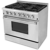 "Omcan 42171 Heavy Duty Residential 36"" Stainless Steel Gas Range with 6 Burners"