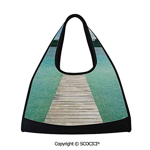 Badminton bag,Wooden Deck in Indonesian Island with Fresh Sky and Sea Forest Exotic Dream Land View,Bag for Women and Men(18.5x6.7x20 in) Turquoise Brown
