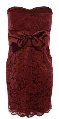 Floral Lace Overlay Pleated Satin Bow Strapless Dress