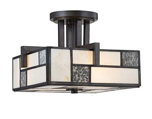 Designers Fountain 84111-CHA Bradley - Three Light Semi-Flush Mount, Charcoal Finish with Art Glass with White Fabric Shade