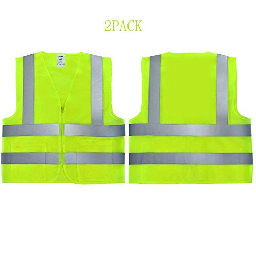 - Safety Vest High Visibility Vest with Zipper Front Mesh Reflective Vests with High Reflective Stripes for Construction Workers Runners Policemen Men and Women,Neon Yellow Standard Size-2Pack