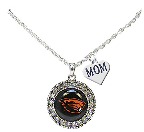 Beaver Jewelry Charm - Holly Road Oregon State Beavers Silver Crystal Necklace WITH MOM CHARM Jewelry OSU