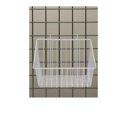 Count of 3 White Mini-Grid Basket with 4'' Front 12''L x 12''W x 8''D by Mini-Grid Basket