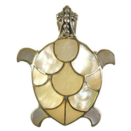 925 Antiqued Sterling Silver White Mother of Pearl Inlay Sea Turtle Convertible Pendant to Brooch (Pin)
