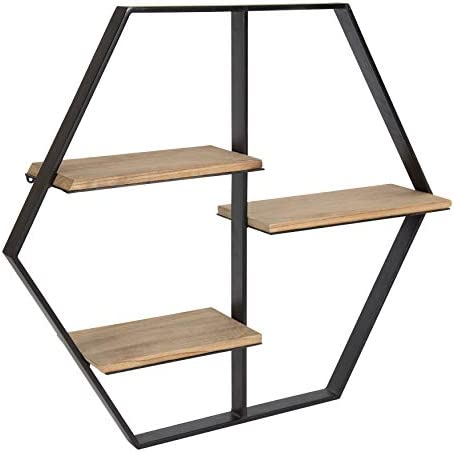 Kate and Laurel Ladd Hexagon Shaped Floating Wood Wall Shelf with Black Metal Frame