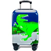 GURHODVO Kids Luggage for boys suitcase with spinner wheels Carry On hard shell Trolley case lightweight cute gift travel toys (GREEN-Dinosaur, 18