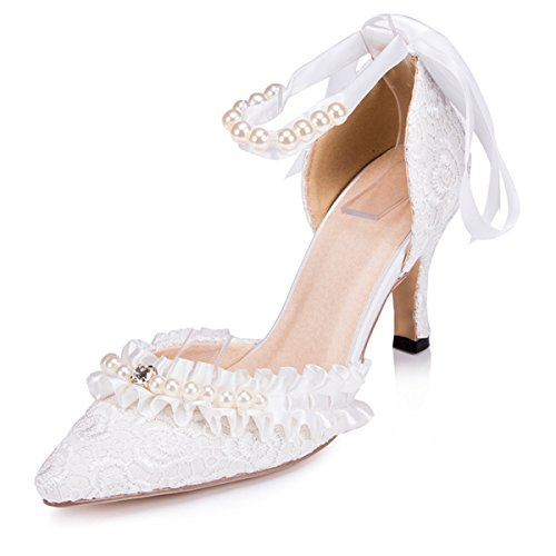 Kevin Fashion ZMS1505 Womens Ankle Strap Lace Bridal Wedding Party Evening Prom Pumps Shoes Ivory OMICS7rQ