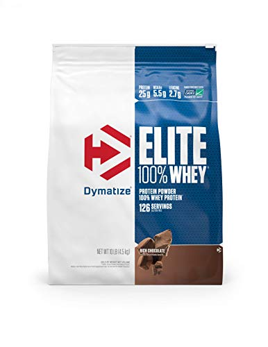 Dymatize Elite 100% Whey Protein Powder, 25g Protein, 5.5g BCAAs & 2.7g L-Leucine, Quick Absorbing & Fast Digesting for Optimal Muscle Recovery, Rich Chocolate, 10 Pound (Dymatize Whey Isolate Protein)