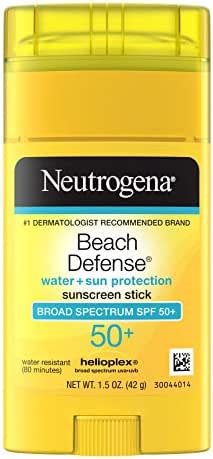 Neutrogena Beach Defense Water-Resistant Body Sunscreen Stick with Broad Spectrum SPF 50+, PABA-Free, and Oxybenzone-Free, Superior Protection Against UVA/UVB Rays, 1.5 oz (Packaging May Vary)