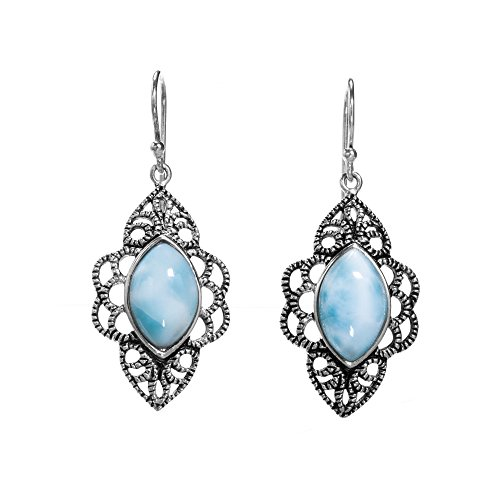 BEAN & VANILLA Larimar Stone Fisheye Shaped Earrings on Italian Sterling Silver by BEAN & VANILLA