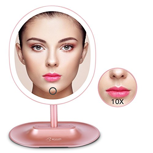 BESTOPE LED Makeup Mirror with 1X/10X Magnification, Natural Lighted Vanity Mirror Touch Screen, USB&Battery Power Supply, Oval Shaped Dimmable Countertop Cosmetic Makeup Mirror by BESTOPE