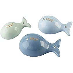 Kate Aspen 23159NA Ceramic Whale Shaped Set, Half Tablespoon & Teaspoon Measuring Spoons, One Size, Blue and Gold