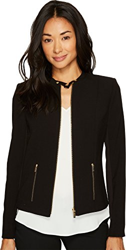 Calvin Klein Women's Lux Jacket with Zip Black 10 by Calvin Klein