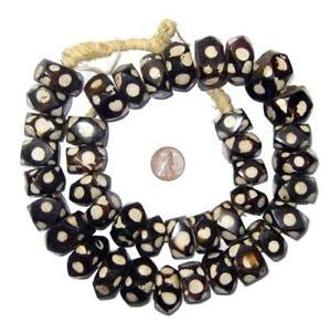 (Polka Dot Batik Bone Beads Faceted 22mm Kenya African Black and White Unusual Crafting Key Chain Bracelet Necklace Jewelry Accessories Pendants)