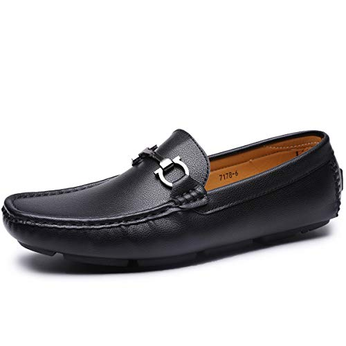 Men's Casual Loafer Slip-on Moccasin Boat Shoes Flat Driving Shoes (9, Black-1)