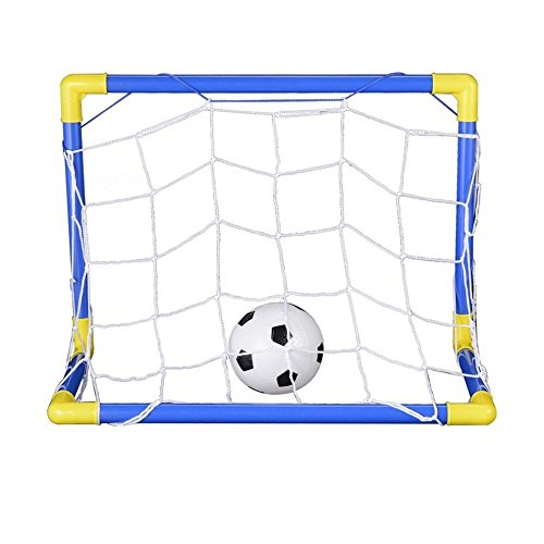 SODIAL Indoor Mini Folding Football Soccer Ball Goal Post Net Set+Pump Kids Sport Outdoor Home Game Toy Child Birthday Gift Plastic