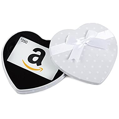 Amazon.com $250 Gift Card in a White Heart Tin (Classic White Card Design)