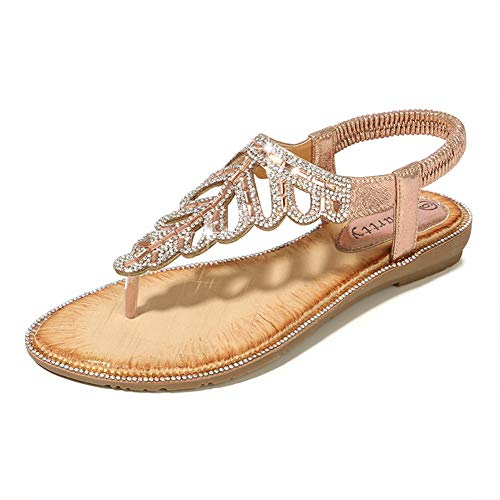 Sandals Rhinestones Ladies - WESIDOM Women Flat Sandals T-Strap Bohemian Rhinestone Elastic Adjustable Strap Beach Summer Shoes Pink