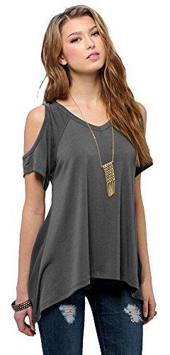 4f67dbf6544 Urban CoCo Women s Vogue Shoulder Off Wide Hem Design Top Shirt (M